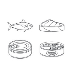 tuna fish can steak icons set outline style vector image