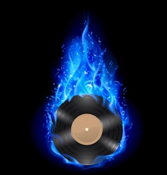 Vinyl disc in blue fire vector image