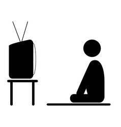 watch tv program man pictograph flat icon isolated vector image