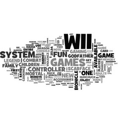 Whats up with wii text word cloud concept vector