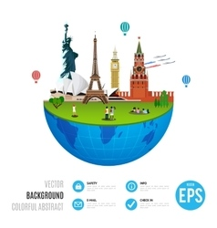 World landmarks concept on white background vector image