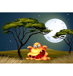 A monster near the tree scaring in the middle of vector image vector image