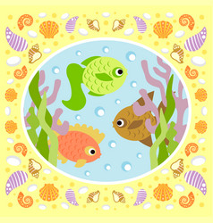 background sea card with fish vector image vector image