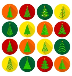 Christmas tree flat round buttons vector image vector image