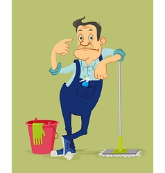 cleaner with mop vector image vector image