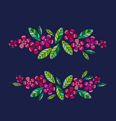 decorative leave and flower design vector image vector image