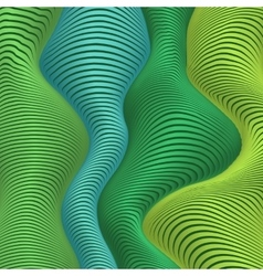 Green and blue colors wavy stripes abstract vector image
