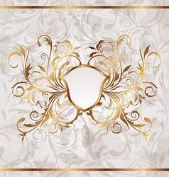 Grunge vintage heraldic shield seamless floral vector image
