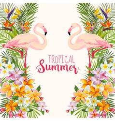 Tropical flowers flamingo bird tropical background vector