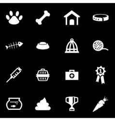 white pet icon set vector image vector image