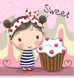 greeting card cute girl with cake vector image vector image