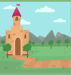 landscape with fairy medieval castle vector image vector image