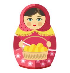 russian matrishka in kerchief with patties in vector image