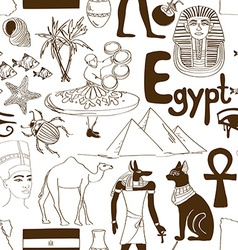 Sketch Egypt seamless pattern vector image vector image