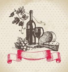 Wine vintage background Hand drawn vector image vector image