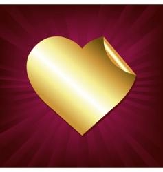 gold heart sticker vector image vector image