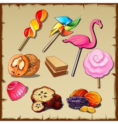 Set of sweets and dried fruits nine icons vector