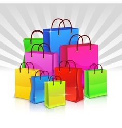 Color shopping bags Discount concept vector image
