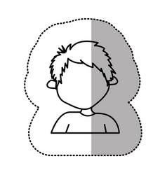 contour sticker boy icon vector image vector image