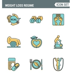 Icons line set premium quality of weight loss vector image vector image
