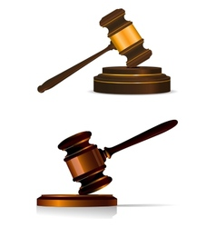 Judge or auctioneers gavel on white vector image