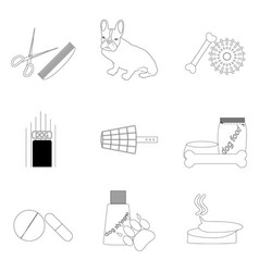 pet care linear icons set vector image