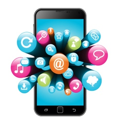Smart phone with internet icons vector image vector image