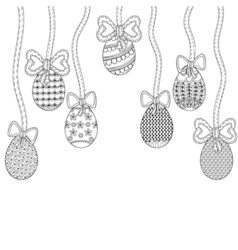 Zentangle Easter eggs with decorative ornamental vector image