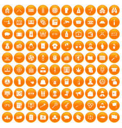 100 criminal offence icons set orange vector