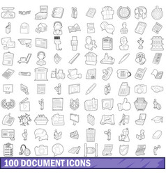 100 document icons set outline style vector image