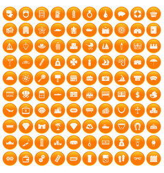 100 wealth icons set orange vector