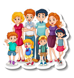 A sticker template with big family members vector