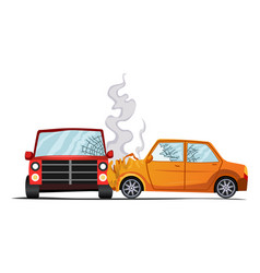 Accident on road car damaged vehicle vector