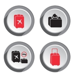 Airport baggage icon set Hand luggage for vector image