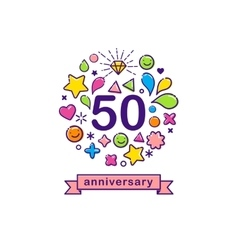 Anniversary background with happy outline icons vector