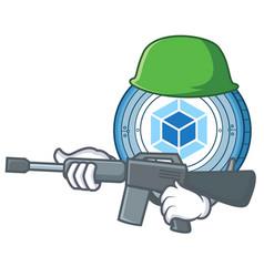 army webpack coin character cartoon vector image