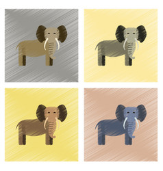 Assembly flat shading style icons cartoon elephant vector