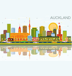 Auckland skyline with color buildings blue sky vector
