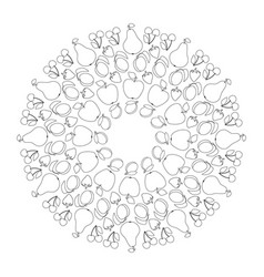 black and white circular fruity mandala vector image