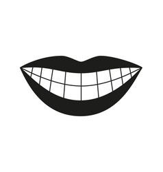 Black and white healthy woman smile silhouette vector