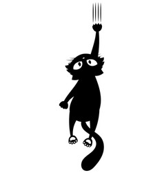 black cat scratching wall silhouette vector image