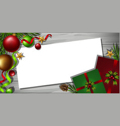 border template with christmas ornaments in vector image vector image