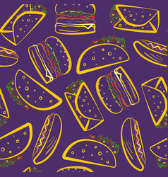 Bright purple pattern with color outline fast food vector