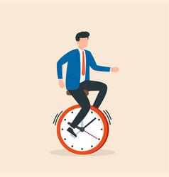 businessman rides time bike time management vector image