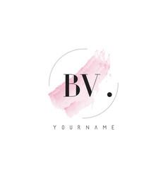 Bv watercolor letter logo design with circular vector