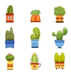Cactus In Pot Set vector image