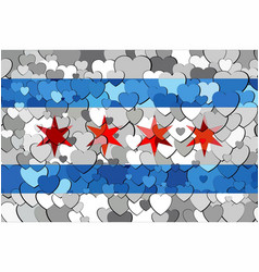 chicago made of hearts background vector image