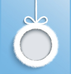christmas frame white paper decoration with a bow vector image