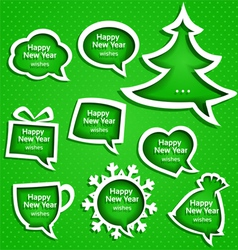 Christmas speech bubles set various shapes vector