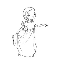 coloring book cartoon girl wearing classic long vector image